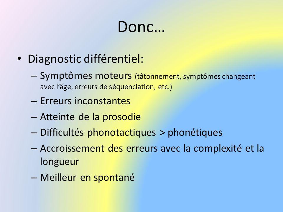 Donc… Diagnostic différentiel: – Symptômes moteurs (tâtonnement, symptômes changeant avec lâge, erreurs de séquenciation, etc.) – Erreurs inconstantes