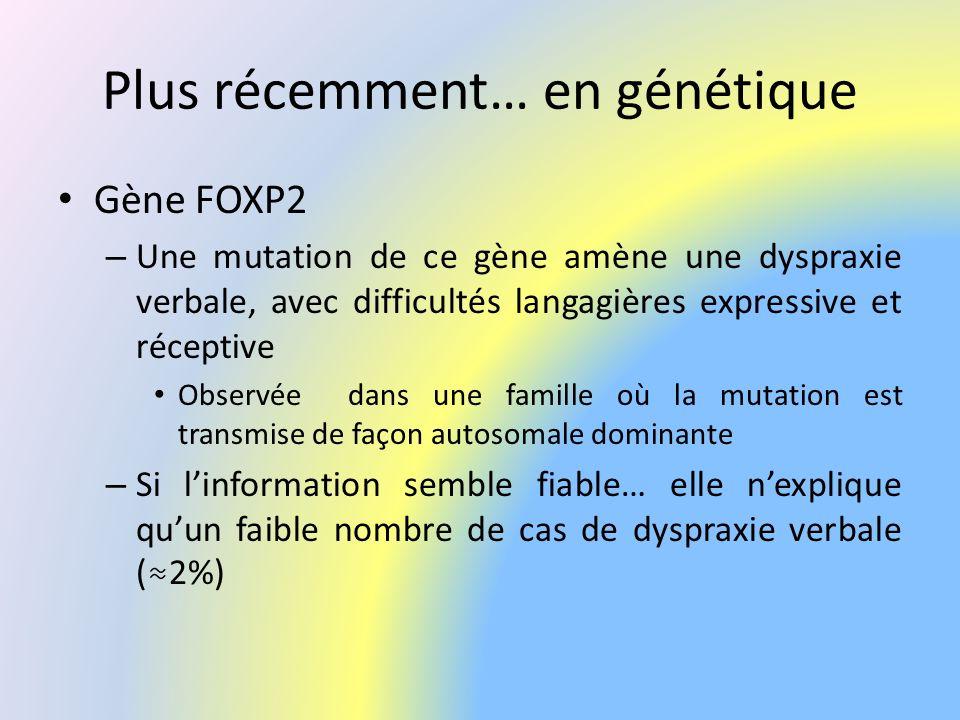 Plus récemment… en génétique Gène FOXP2 – Une mutation de ce gène amène une dyspraxie verbale, avec difficultés langagières expressive et réceptive Ob