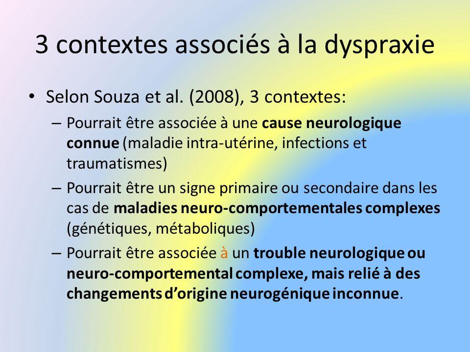 3 contextes associés à la dyspraxie Selon Souza et al. (2008), 3 contextes: – Pourrait être associée à une cause neurologique connue (maladie intra-ut