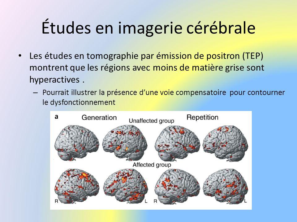 Études en imagerie cérébrale Les études en tomographie par émission de positron (TEP) montrent que les régions avec moins de matière grise sont hypera