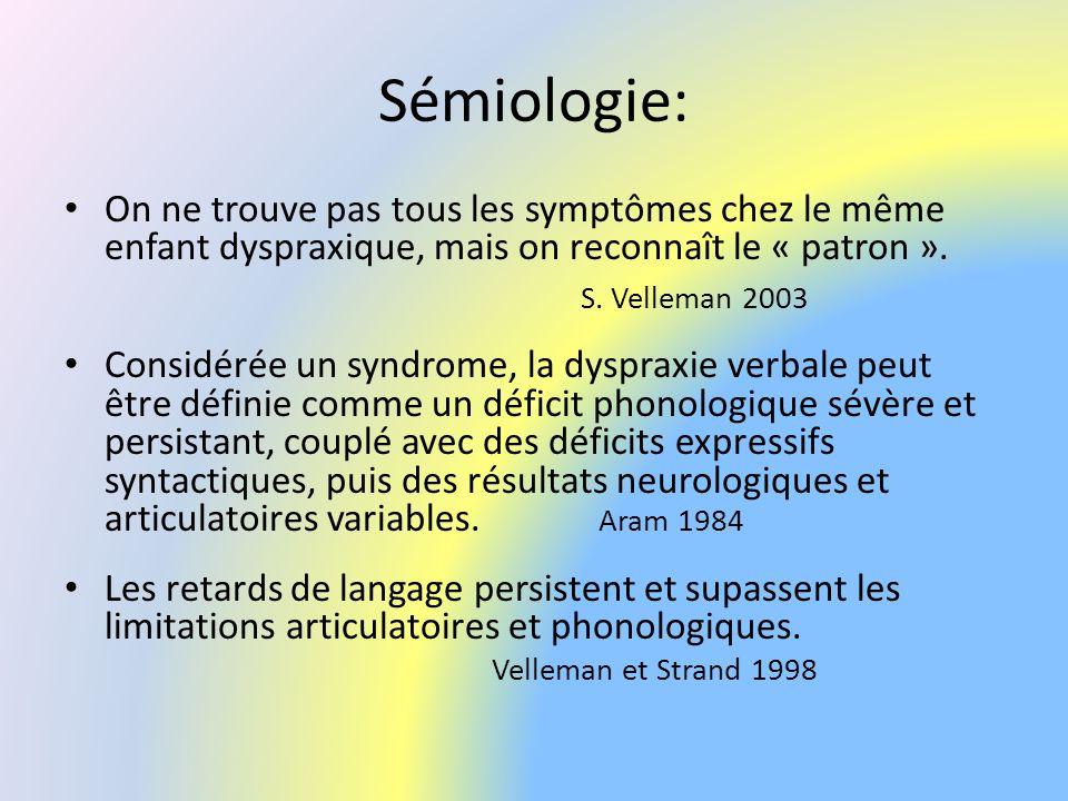 Sémiologie: On ne trouve pas tous les symptômes chez le même enfant dyspraxique, mais on reconnaît le « patron ». S. Velleman 2003 Considérée un syndr