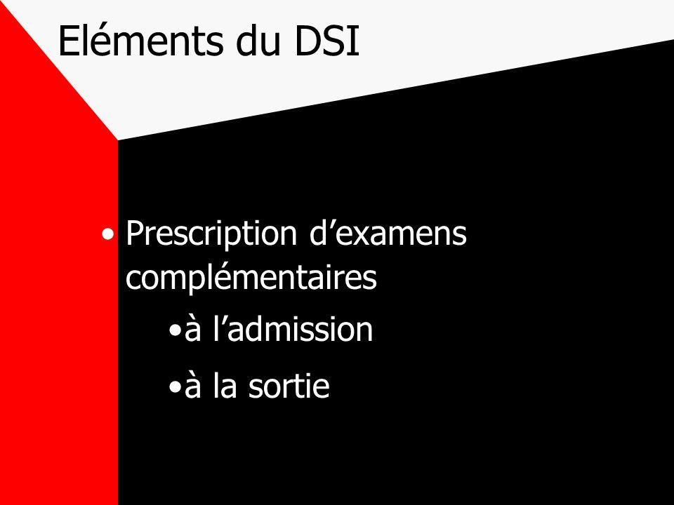 Eléments du DSI Prescription dexamens complémentaires à ladmission à la sortie