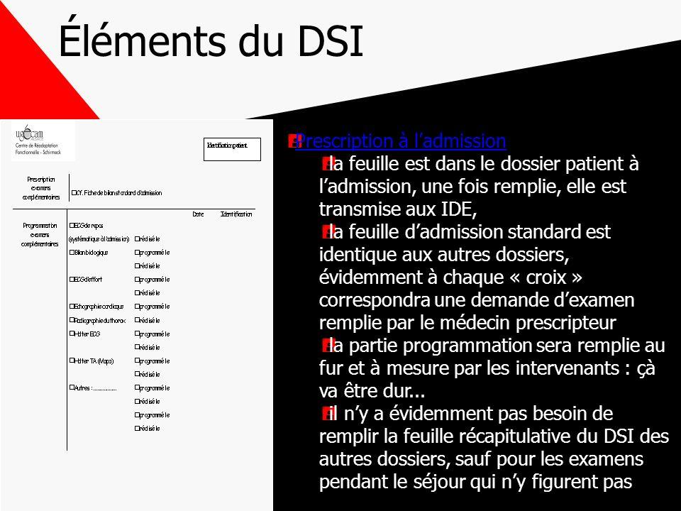 Éléments du DSI Prescription à ladmission la feuille est dans le dossier patient à ladmission, une fois remplie, elle est transmise aux IDE, la feuill