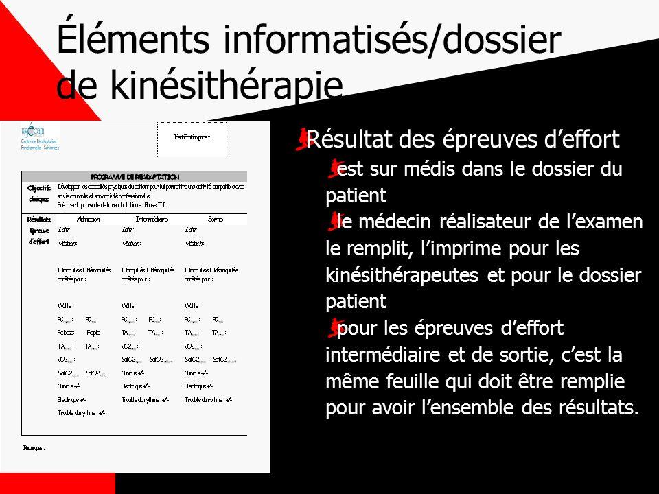 Éléments informatisés/dossier de kinésithérapie Résultat des épreuves deffort est sur médis dans le dossier du patient le médecin réalisateur de lexam