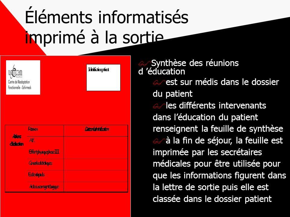 Éléments informatisés imprimé à la sortie Synthèse des réunions d éducation est sur médis dans le dossier du patient les différents intervenants dans