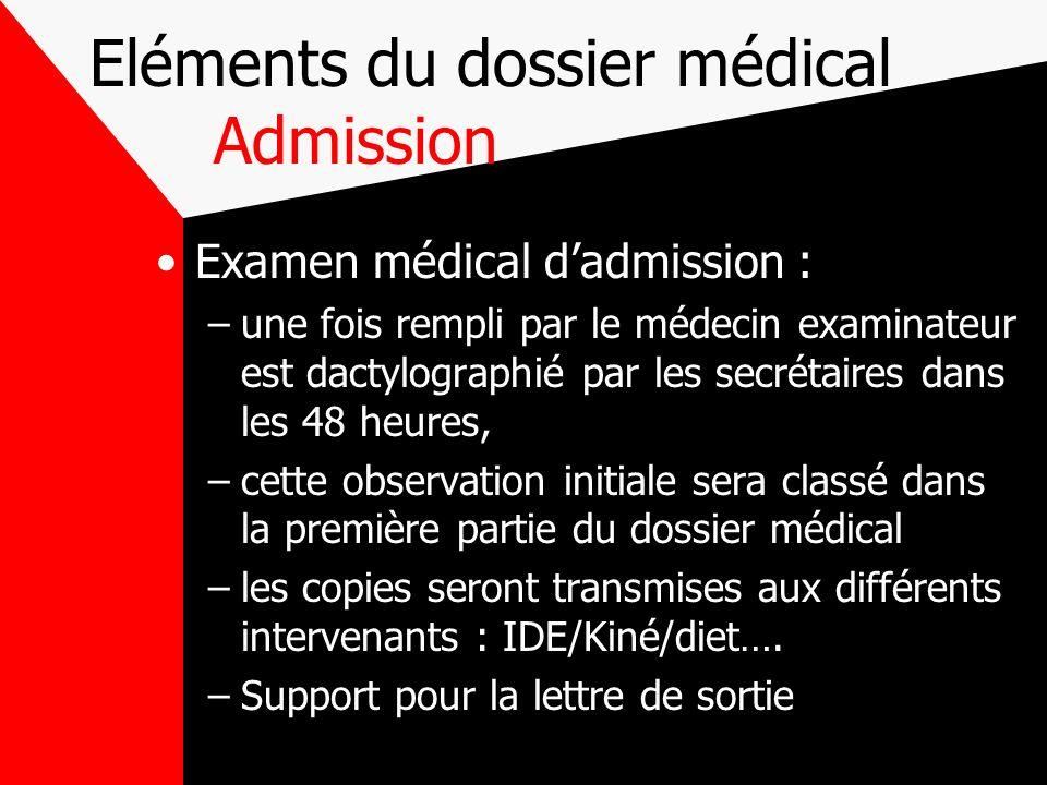 Eléments du dossier médical Admission Examen médical dadmission : –une fois rempli par le médecin examinateur est dactylographié par les secrétaires d