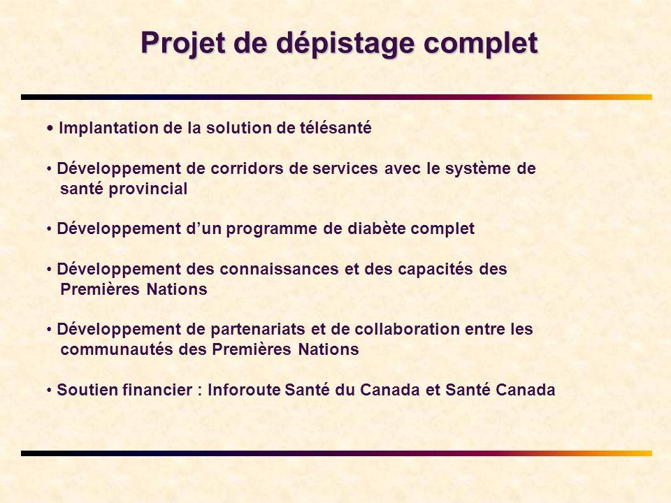 Projet de dépistage complet Implantation de la solution de télésanté Développement de corridors de services avec le système de santé provincial Dévelo