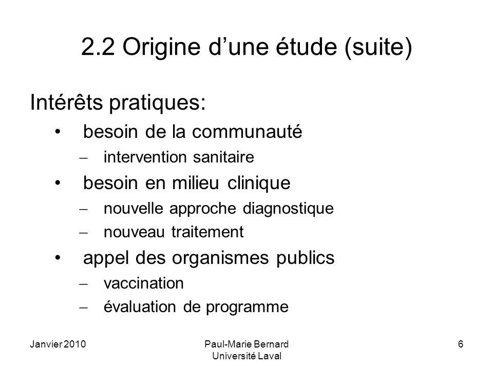Janvier 2010Paul-Marie Bernard Université Laval 6 2.2 Origine dune étude (suite) Intérêts pratiques: besoin de la communauté intervention sanitaire be