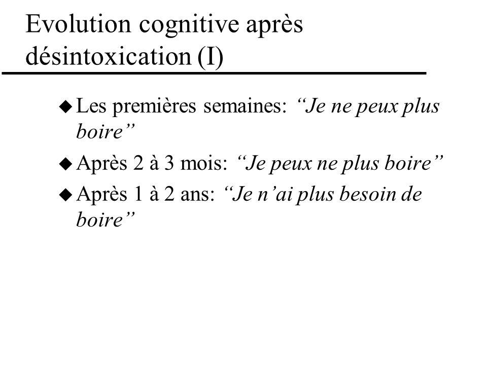 Evolution cognitive après désintoxication (I) Les premières semaines: Je ne peux plus boire Après 2 à 3 mois: Je peux ne plus boire Après 1 à 2 ans: J