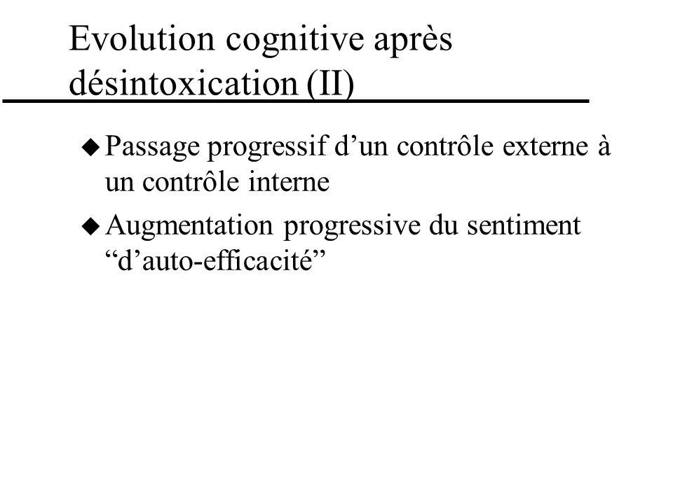 Evolution cognitive après désintoxication (II) Passage progressif dun contrôle externe à un contrôle interne Augmentation progressive du sentiment dau