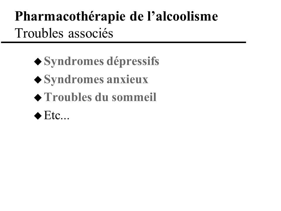 Pharmacothérapie de lalcoolisme Troubles associés Syndromes dépressifs Syndromes anxieux Troubles du sommeil Etc...