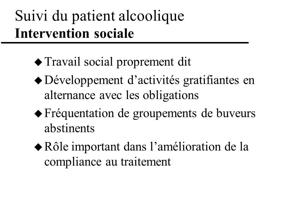 Suivi du patient alcoolique Intervention sociale Travail social proprement dit Développement dactivités gratifiantes en alternance avec les obligation