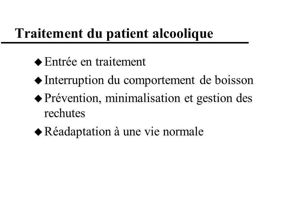 Traitement du patient alcoolique Entrée en traitement Interruption du comportement de boisson Prévention, minimalisation et gestion des rechutes Réada