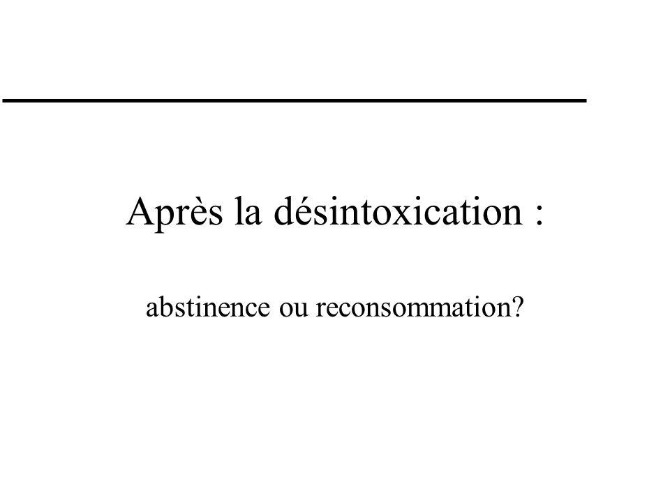 Maintien de labstinence Pharmacothérapie Tiapride (Tiapridal ® ) Disulfiram (Antabuse ® ) Acamprosate (Campral ® ) Antagonistes des opioïdes