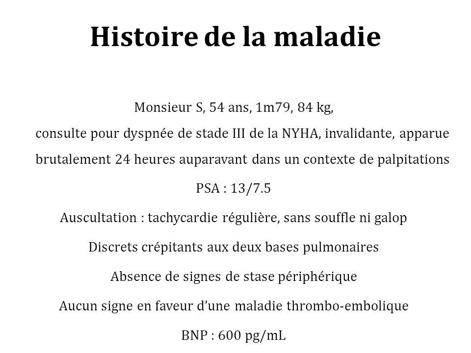 Histoire de la maladie Monsieur S, 54 ans, 1m79, 84 kg, consulte pour dyspnée de stade III de la NYHA, invalidante, apparue brutalement 24 heures aupa