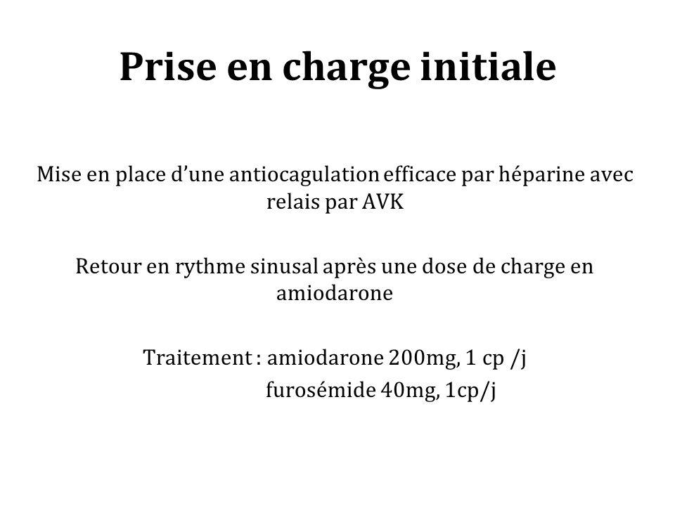 Prise en charge initiale Mise en place dune antiocagulation efficace par héparine avec relais par AVK Retour en rythme sinusal après une dose de charge en amiodarone Traitement : amiodarone 200mg, 1 cp /j furosémide 40mg, 1cp/j