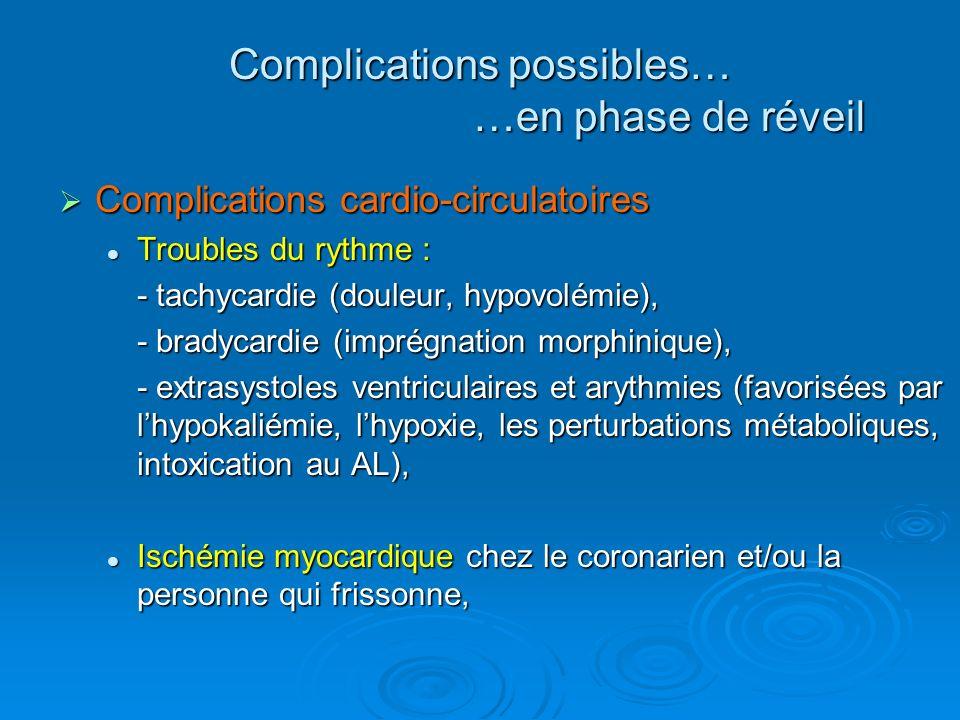 Complications cardio-circulatoires Complications cardio-circulatoires Troubles du rythme : Troubles du rythme : - tachycardie (douleur, hypovolémie),