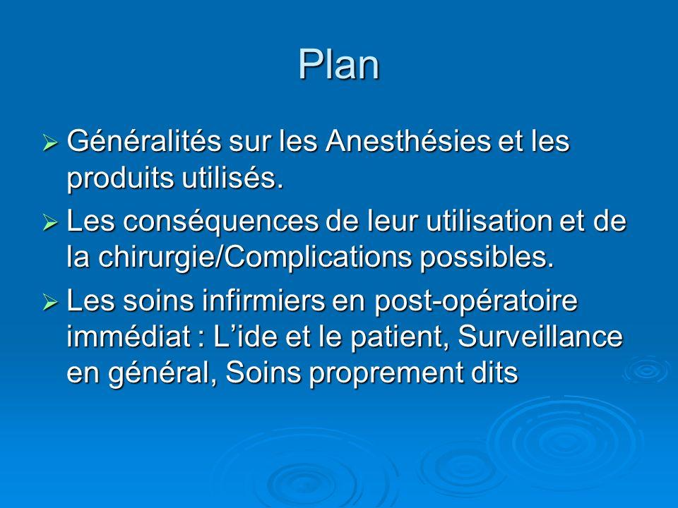 Plan Généralités sur les Anesthésies et les produits utilisés. Généralités sur les Anesthésies et les produits utilisés. Les conséquences de leur util