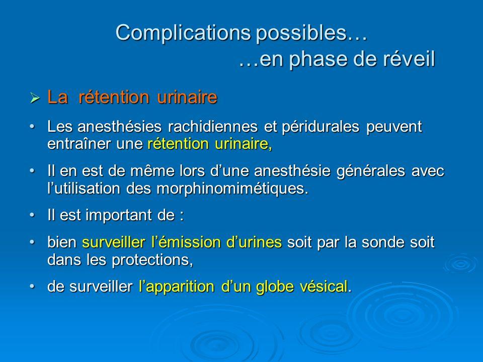 La rétention urinaire La rétention urinaire Les anesthésies rachidiennes et péridurales peuvent entraîner une rétention urinaire,Les anesthésies rachi