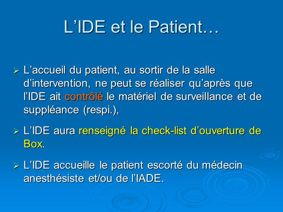 Laccueil du patient, au sortir de la salle dintervention, ne peut se réaliser quaprès que lIDE ait contrôlé le matériel de surveillance et de suppléan
