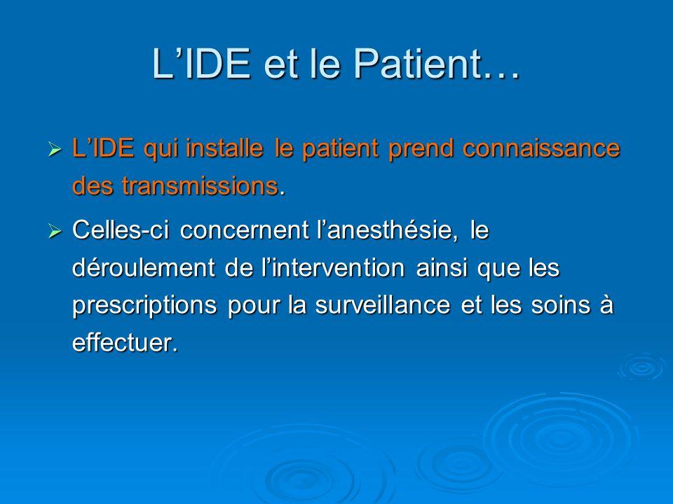 LIDE qui installe le patient prend connaissance des transmissions. LIDE qui installe le patient prend connaissance des transmissions. Celles-ci concer