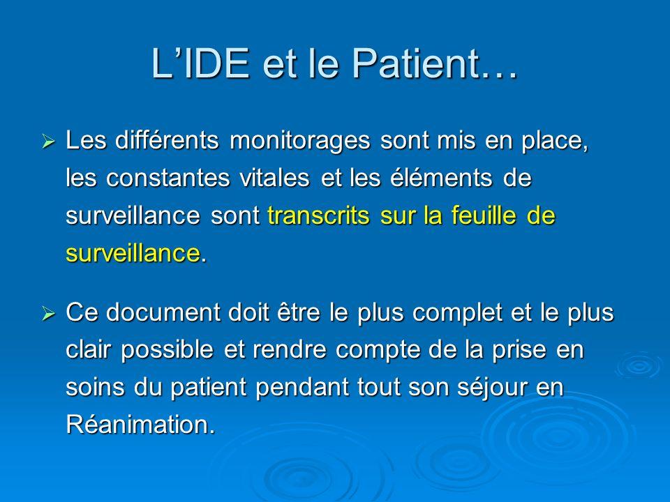 Les différents monitorages sont mis en place, les constantes vitales et les éléments de surveillance sont transcrits sur la feuille de surveillance. L