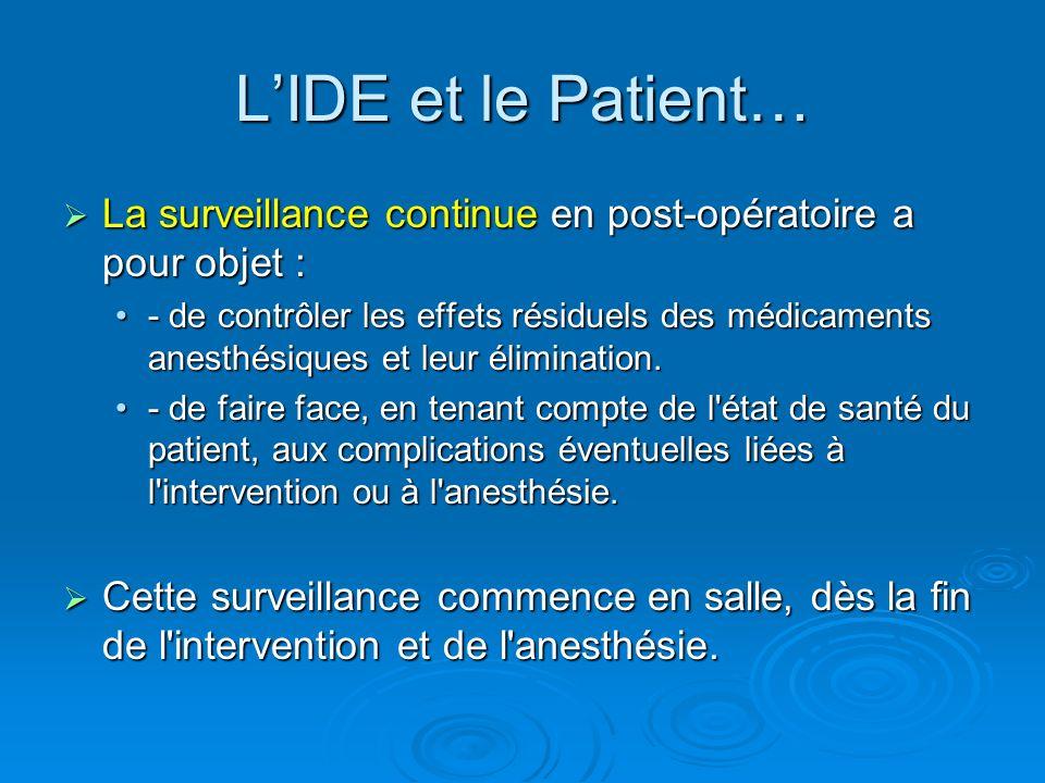La surveillance continue en post-opératoire a pour objet : La surveillance continue en post-opératoire a pour objet : - de contrôler les effets résidu