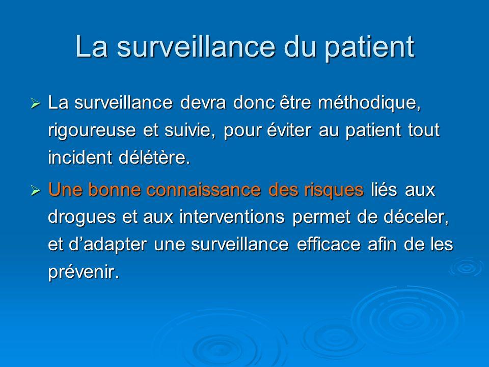 La surveillance devra donc être méthodique, rigoureuse et suivie, pour éviter au patient tout incident délétère. La surveillance devra donc être métho
