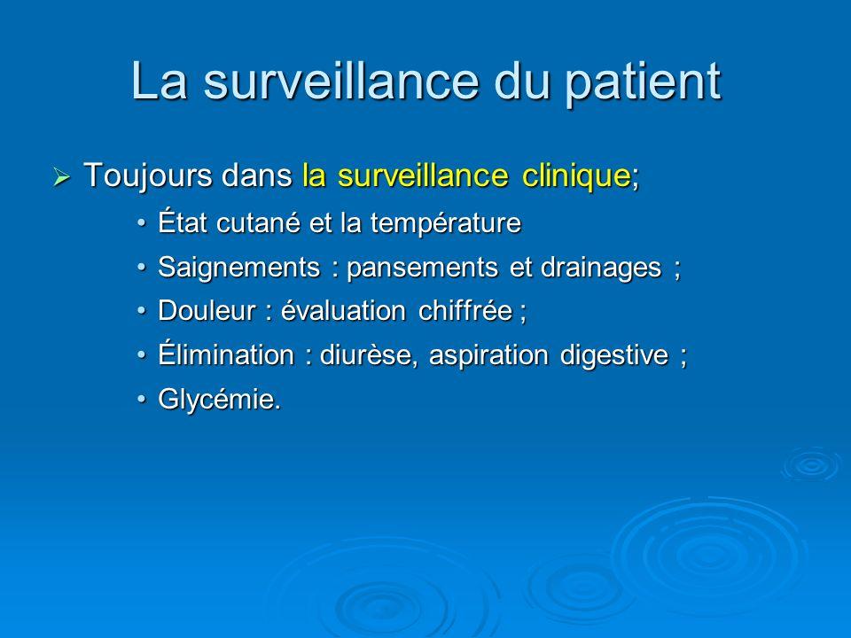 Toujours dans la surveillance clinique; Toujours dans la surveillance clinique; État cutané et la températureÉtat cutané et la température Saignements