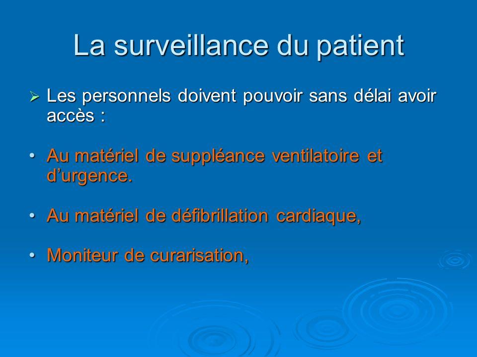 La surveillance du patient Les personnels doivent pouvoir sans délai avoir accès : Les personnels doivent pouvoir sans délai avoir accès : Au matériel