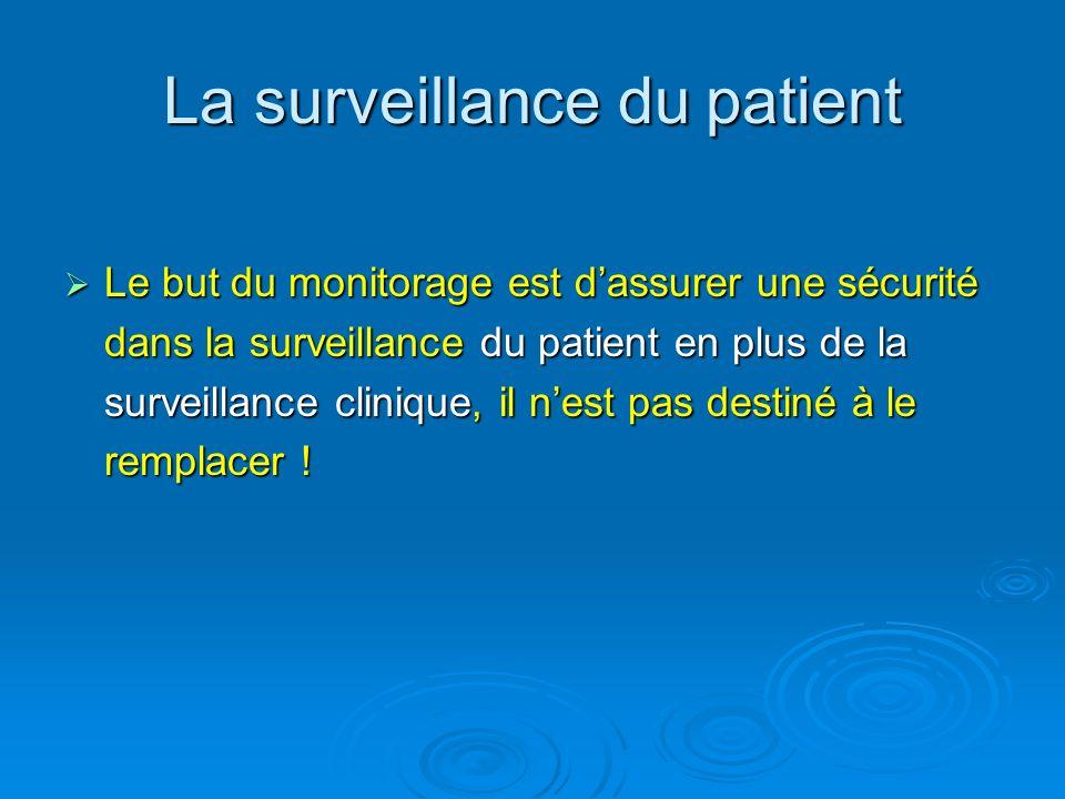 La surveillance du patient Le but du monitorage est dassurer une sécurité dans la surveillance du patient en plus de la surveillance clinique, il nest