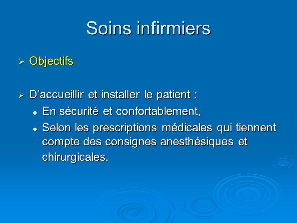 Soins infirmiers Objectifs Objectifs Daccueillir et installer le patient : Daccueillir et installer le patient : En sécurité et confortablement, En sé