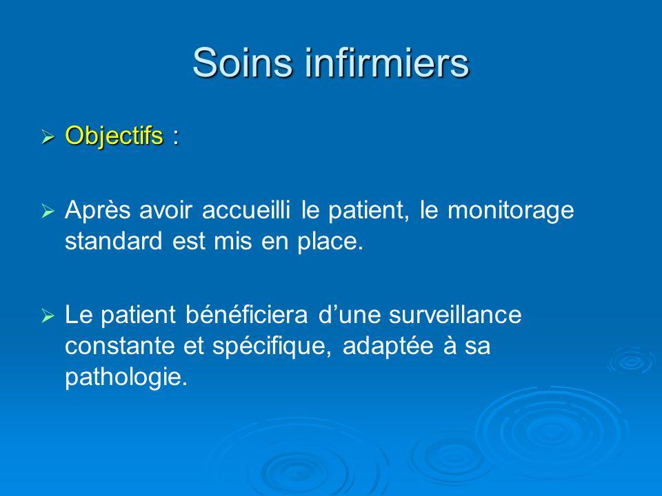 Soins infirmiers Objectifs : Objectifs : Après avoir accueilli le patient, le monitorage standard est mis en place. Le patient bénéficiera dune survei