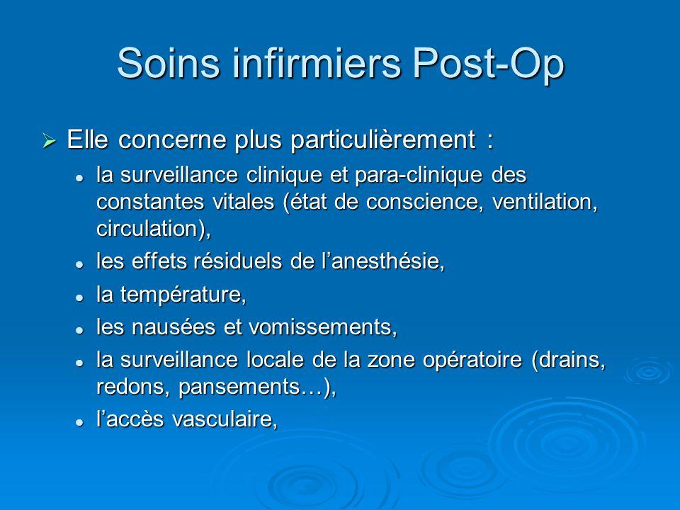 Soins infirmiers Post-Op Elle concerne plus particulièrement : Elle concerne plus particulièrement : la surveillance clinique et para-clinique des con