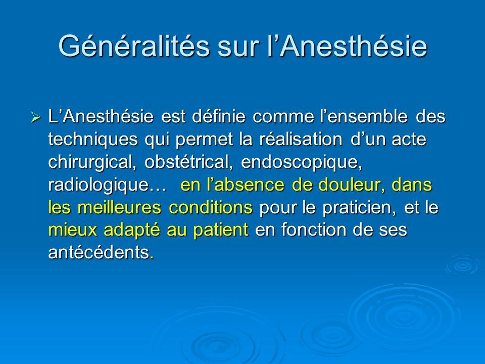 LAnesthésie est définie comme lensemble des techniques qui permet la réalisation dun acte chirurgical, obstétrical, endoscopique, radiologique… en lab