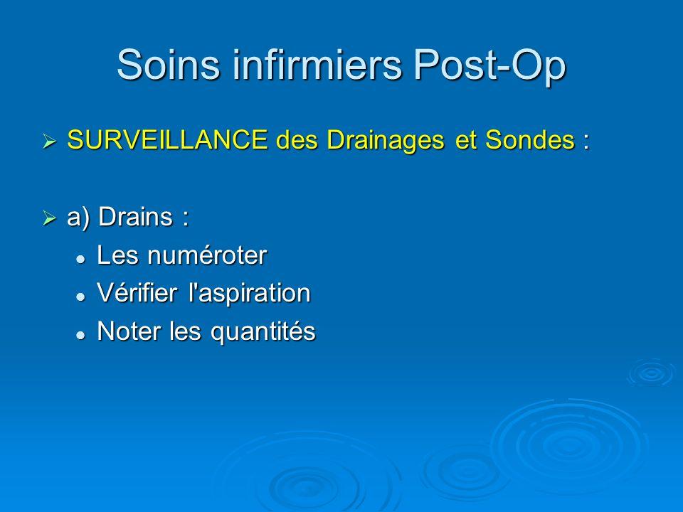 Soins infirmiers Post-Op SURVEILLANCE des Drainages et Sondes : SURVEILLANCE des Drainages et Sondes : a) Drains : a) Drains : Les numéroter Les numér