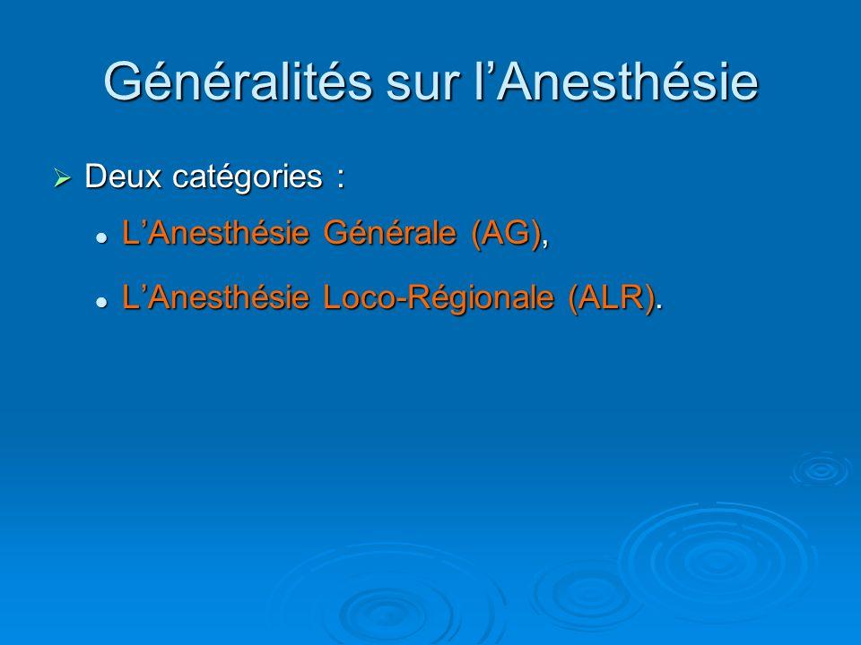 Deux catégories : Deux catégories : LAnesthésie Générale (AG), LAnesthésie Générale (AG), LAnesthésie Loco-Régionale (ALR). LAnesthésie Loco-Régionale