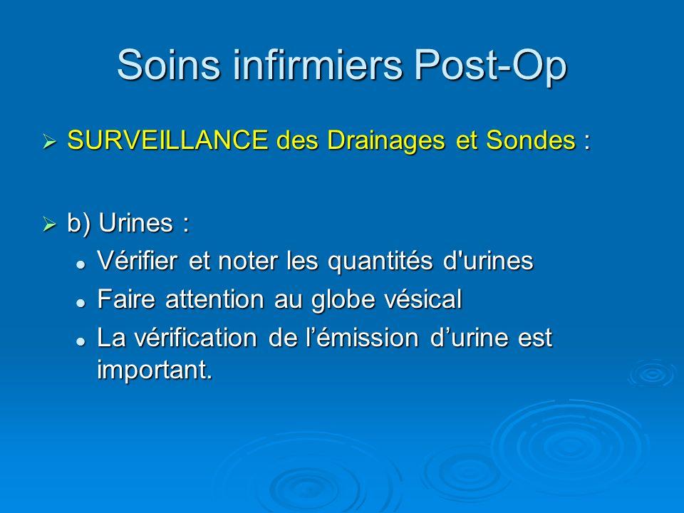 Soins infirmiers Post-Op SURVEILLANCE des Drainages et Sondes : SURVEILLANCE des Drainages et Sondes : b) Urines : b) Urines : Vérifier et noter les q