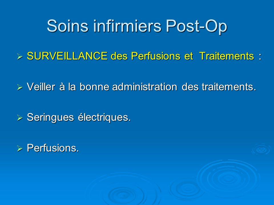Soins infirmiers Post-Op SURVEILLANCE des Perfusions et Traitements : SURVEILLANCE des Perfusions et Traitements : Veiller à la bonne administration d