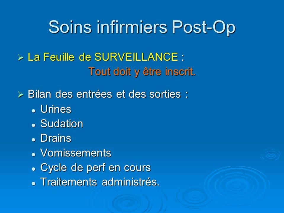 Soins infirmiers Post-Op La Feuille de SURVEILLANCE : La Feuille de SURVEILLANCE : Tout doit y être inscrit. Bilan des entrées et des sorties : Bilan