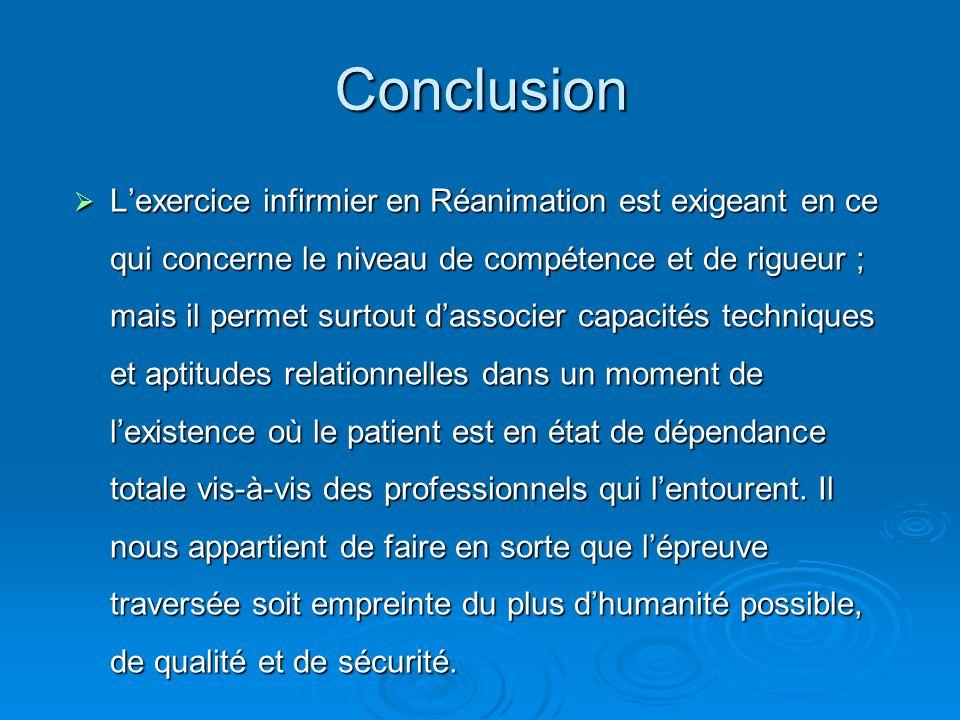 Conclusion Lexercice infirmier en Réanimation est exigeant en ce qui concerne le niveau de compétence et de rigueur ; mais il permet surtout dassocier