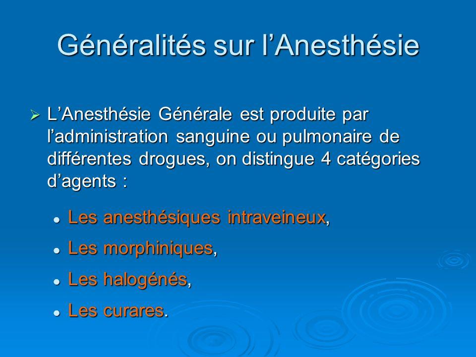 LAnesthésie Générale est produite par ladministration sanguine ou pulmonaire de différentes drogues, on distingue 4 catégories dagents : LAnesthésie G