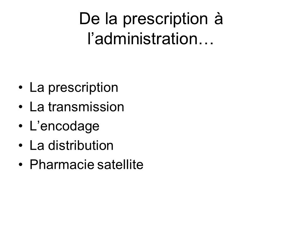 De la prescription à ladministration… La prescription La transmission Lencodage La distribution Pharmacie satellite