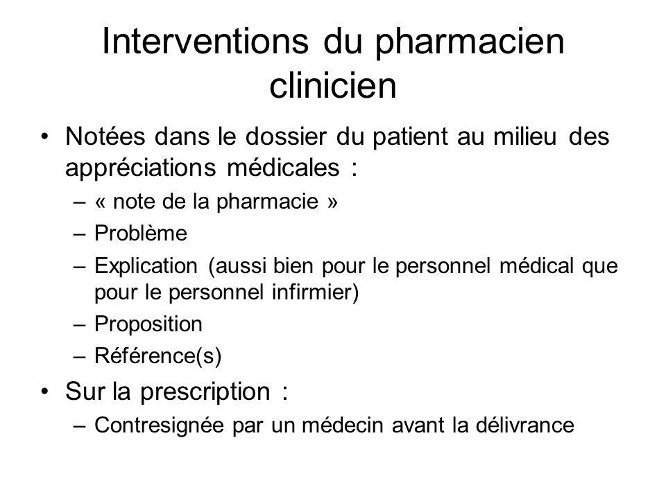 Quelques exemples… Évaluation de la dose de vancomycine en fonction des valeurs de laboratoire pré-doses et post-doses Adaptation de la phénytoïne en fonction de lalbumine Détection dinteractions médicamenteuses
