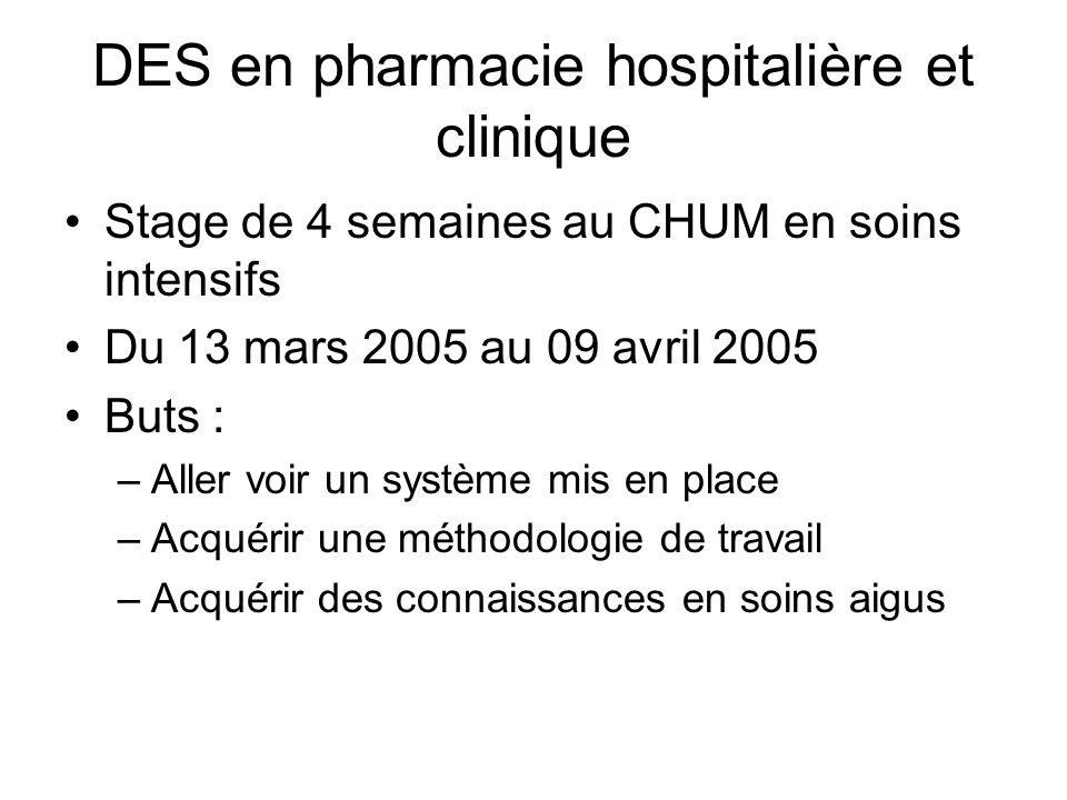 Le CHUM Centre hospitalier sur 3 sites : Hôtel-Dieu (Aurélie), Saint-Luc (Stéphanie) et Notre- Dame 1500 lits 75 pharmaciens et personnel de soutien (~100 personnes)