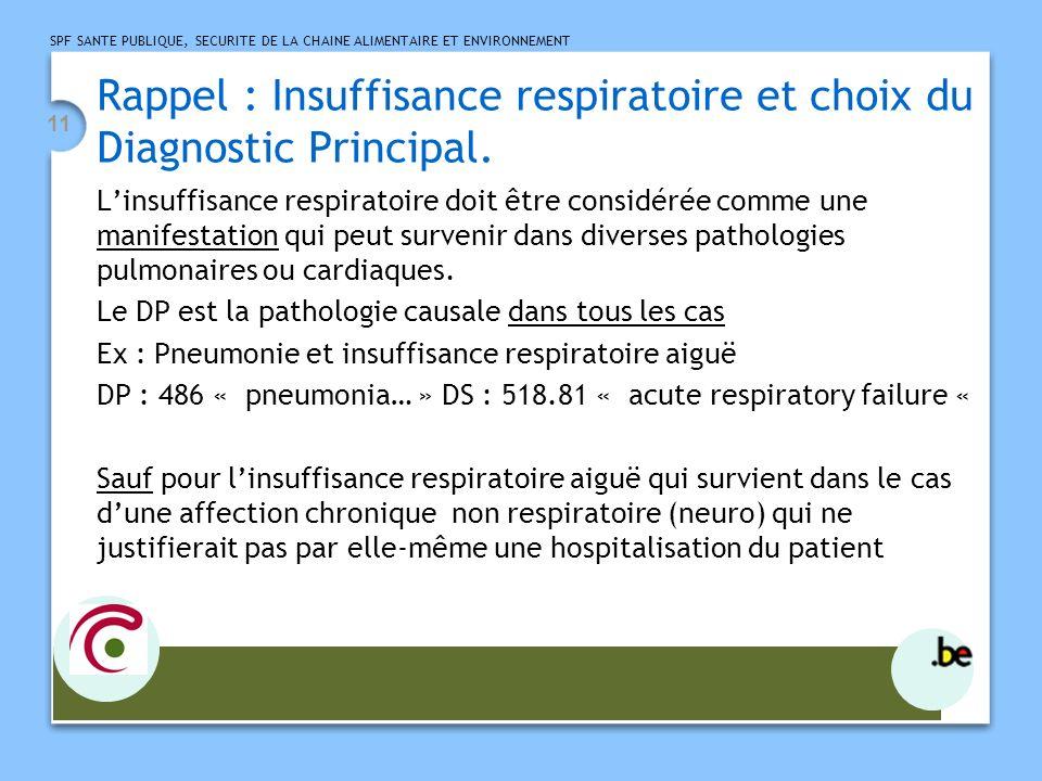 SPF SANTE PUBLIQUE, SECURITE DE LA CHAINE ALIMENTAIRE ET ENVIRONNEMENT 11 Rappel : Insuffisance respiratoire et choix du Diagnostic Principal. Linsuff