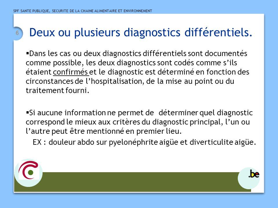 SPF SANTE PUBLIQUE, SECURITE DE LA CHAINE ALIMENTAIRE ET ENVIRONNEMENT 6 Deux ou plusieurs diagnostics différentiels. Dans les cas ou deux diagnostics