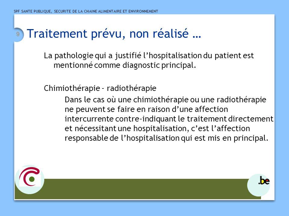SPF SANTE PUBLIQUE, SECURITE DE LA CHAINE ALIMENTAIRE ET ENVIRONNEMENT 10 Exemple Admission pour une deuxième cure de chimio dans le cadre dun néo de la tête du pancréas.
