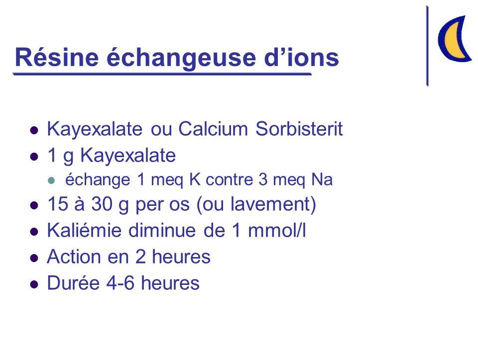 Résine échangeuse dions Kayexalate ou Calcium Sorbisterit 1 g Kayexalate échange 1 meq K contre 3 meq Na 15 à 30 g per os (ou lavement) Kaliémie diminue de 1 mmol/l Action en 2 heures Durée 4-6 heures