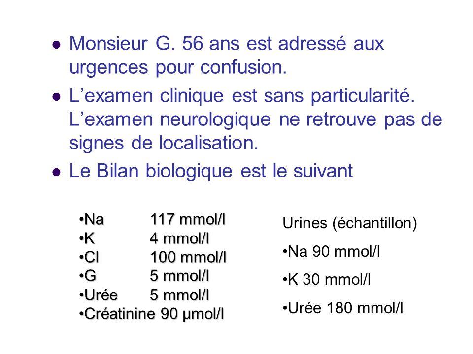 Monsieur G. 56 ans est adressé aux urgences pour confusion. Lexamen clinique est sans particularité. Lexamen neurologique ne retrouve pas de signes de